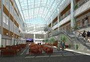 A rendering of the 10,000-square-foot atrium at Wake Forest Biotech Place, which is scheduled to be completed in December.