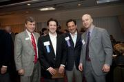 From left to right, Tim Ward of Senn Dunn Insurance; 40 Leaders Under Forty 2012 honoree Karl Sherrill of Senn Dunn Insurance; Greensboro City Council member Zach Matheny, a past 40 Leaders Under Forty honoree; and Chris Barbee of Wells Fargo Advisors.