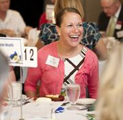 Becca Jones, the wellness coordinator for Cone Health, at the Triad's Healthiest Employers breakfast. Cone Health was one of 15 workplaces honored for their wellness programs.