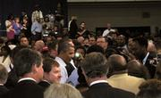 President Barack Obama mingles with the crowd after speaking at Guilford Technical Community College in Jamestown on Tuesday.