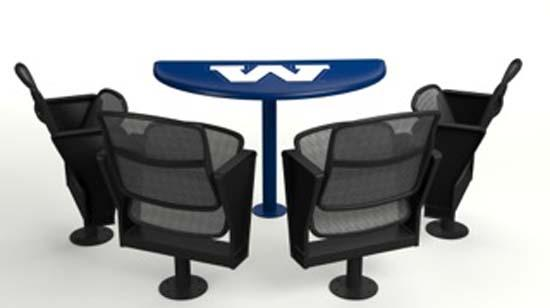 A rendering of the 4Topps table and seats the Winnipeg Blue Bombers are installing.