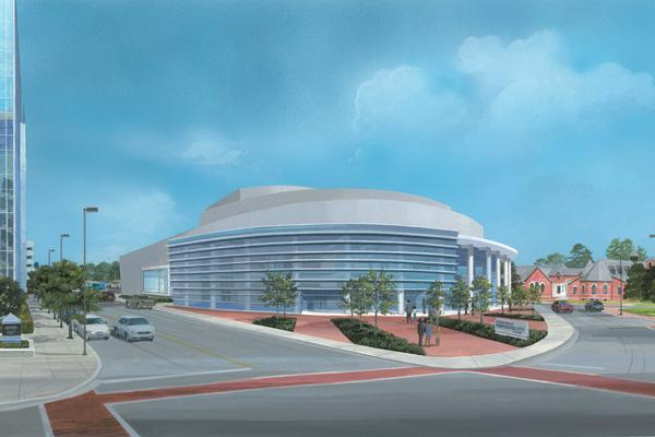 A rendering of what a Greensboro performing arts center located at North Elm and Lindsay streets could look like.