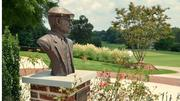 A bust of famed golf-course designer Donald Ross now stands amid new landscaping on the side entrance to the clubhouse. The 10th (right) and 18th (left) fairways are in the background.