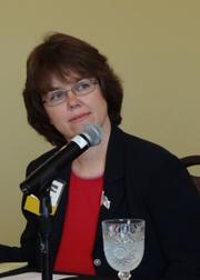 Kernersville Mayor Dawn Morgan talks during the State of Kernersville panel discussion Friday.