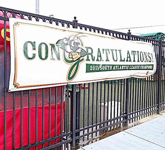 The Greensboro Grasshoppers are hoping to hang up another one of these banners this year.