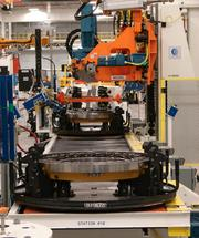 One of the new wheel assembly lines inside the Winston-Salem Caterpillar plant in Winston-Salem, which held its grand opening Wednesday. The plant will produce wheels and axles for its largest mining trucks.