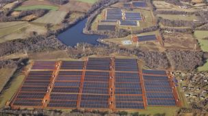Sunlight Partners is considering locating a small solar farm in Forsyth. The solar farm pictured above is in Davidson County and ranks as the largest in the state.