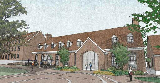 A rendering of the planned student center at Salem College in Winston-Salem.