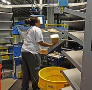 Packages that are non-conveyable, such as tires, metal objects, or rolls of carpet, are not put up on the conveyor belts. Similarly, small packages that can fit through a coat hanger are sorted separately through an automated voice-activated system. The facility has four sorts per day -- one each between 3 p.m. and 6 p.m.; 6:30 p.m. and 10:30 p.m.; 11 p.m. and 3 a.m.; and, 4 a.m. and 7 a.m.