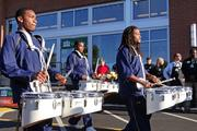 The N.C. A&T State University drumline led the crowd into the new Whole Foods in Greensboro, which officially opened Thursday.