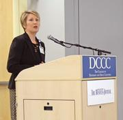 Laura Owen, the CEO of Hospice of Davidson County, offers opening remarks at the State of Davidson discussion.