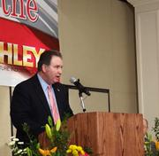 Dale Carroll, deputy secretary at the N.C. Department of Commerce, speaks at the announcement that Ashley Furniture will be building a plant in Davie County.