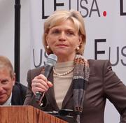 Gov. Bev Perdue speaks at the Grandover Monday announcing Li & Fung's plans to expand and add jobs.