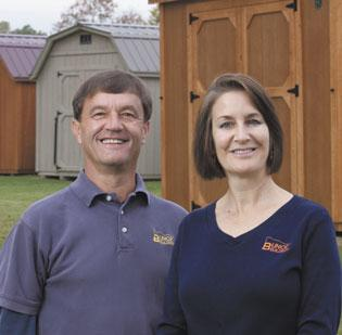 Curt Paden, manager of Bunce Building's Winston-Salem location, and Beth Bunce, president of Bunce Buildings at their Winston-Salem site.