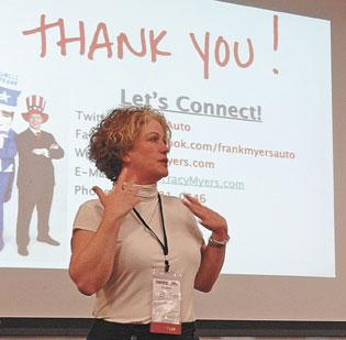 Kristen Daukas speaks at the ConvergeSouth technology and business conference in Greensboro last week. Daukas was a co-chair of the one-day event, which seeks to help businesses, entrepreneurs and nonprofits boost their brand online and through social media.