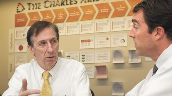 Bob Gainey, left, practice leader with the Greensboro-based executive placement firm Charles Aris, meets with Chad Oakley, president and chief operating officer of Charles Aris in Greensboro.
