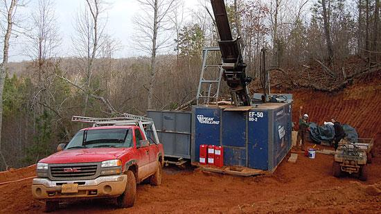 A drilling crew for Revolution Resources explores one of the company's properties. The Canadian firm has been doing surface explorations on 7,000 acres in Randolph and Davidson counties since last fall.