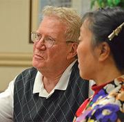 Stan Mandel, an expert in entrepreneurship at Wake  Forest University's Schools of Business, and Connie Zhou, a biocomputing  expert, critique Houenou's presentation.