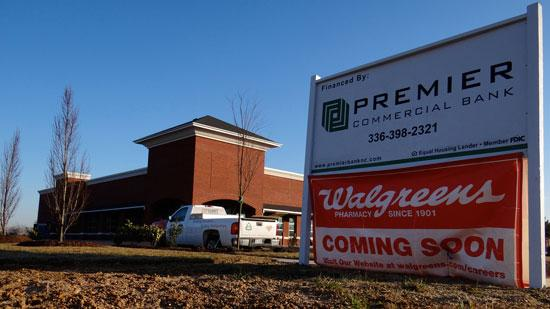 While lending on the whole is lagging, banks are still hustling for the solid deals that are out there. Premier Commercial was the lender on this $2 million Walgreens in the Shoppes at Deep River, one of two Walgreens under construction in High Point.