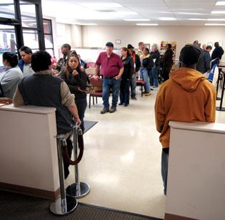 Lines were long for unemployment pay during recession.