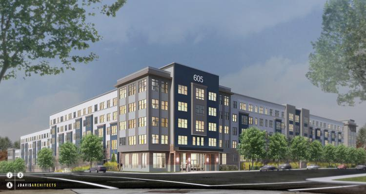 Rendering of the 605 West apartment building in Durham.