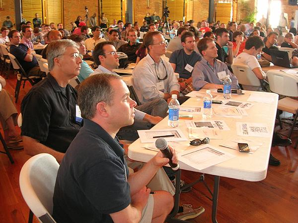 Judges Jason Caplain with Southern Capitol Ventures, Joe Velk of Contender Capital, Richard White of UserVoice, Brian Handly, advisor at RingLeader Digital and Joe Colopy of Bronto Software watch the presentations.