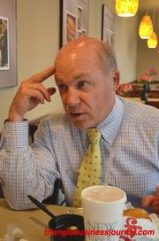 Dan Cathy chats over lunch.
