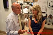Dan Cathy chats with the Chick-fil-A Cameron Village location's marketing director.