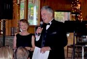Gala chairman Darliene Woolner and Musical Director Grant Llewellyn address the crowd.