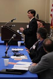 Jeff Barghout of Advanced Energy addresses the crowd.