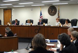 North Carolina Utilities Commission members listen to Duke director Marie McKee's observations on July 19.