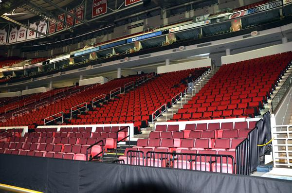 Seats at bottom in this photo are the old ones, with new ones above the concrete rail.