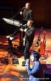 "Michael Cavanaugh singing Billy Joel's ""Pressure"" during his performance inside the Meymandi Concert Hall."