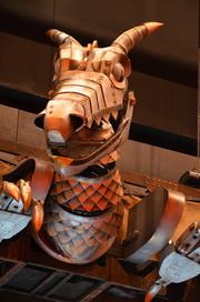 The Clock of Time Dragon will be looking over the audience all month long during Wicked's stint at the Durham Performing Arts Center.