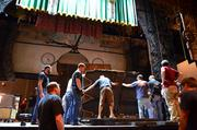 The crew started laying down the musical's backdrops …