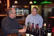 Scot Covington discusses his wines with 42nd Street Oyster Bar's restaurant manager/wine director, Ryan Tyson.