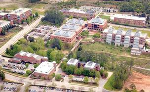An aerial view of N.C. State's Centennial Campus.