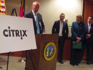 From left: Former N.C. Commerce Secretary Keith Crisco, Citrix rep Jesse Lipson, Raleigh Mayor Nancy McFarlane and North Carolina Technology Association CEO Brooks Raiford at the Citrix expansion announcement last year.