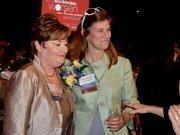 Lifetime Achievement winner Rusine Mitchell Sinclair, left, along with past winner Kristen Hess with HH Architecture.