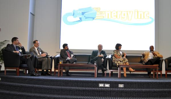 The panelists at the Energy Inc. event included, from left to right: Ken Dulaney, Gary Rackliffe, Stephen Kalland, Dave Pacyna, Terina Cronin and Lloyd Yates.