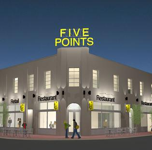 Rendering for Five Points renovation in Durham.