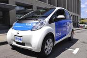 Another shot of the Mitsubishi i electric car.