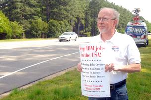 Alliance @ IBM organizer Lee Conrad was the only picketer on Tuesday.
