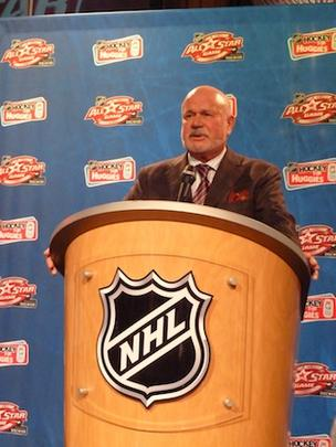 Carolina Hurricanes owner Peter Karmanos addresses the media on NHL All-Star Friday.