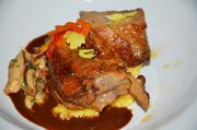 Slow Cooked Pork Shoulder with Toasted Grits Pave, Spiced Chocolate and  Crispy Onion - Chef Childers