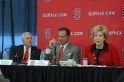 NCSU Chancellor Randy Woodson, basketball coach Mark Gottfried and NCSU Athletics Director Debbie Yow.