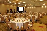 The banquet room prior to guests arriving at the Marriott in downtown Raleigh.