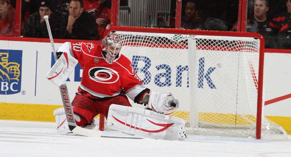 Cam Ward in goal for the Canes.