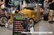 Dragula, another replica from the Munster's TV show, contains a 350 CID engine, turbo 350 transmission, handmade fiberglass coffin ... and completed in 3 years.