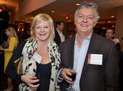 Jamie Dement and Coon Rock Farm's Richard Holcomb enjoy a drink prior to the Fast 50 awards ceremony.
